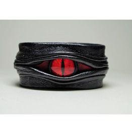 Evil eye dragon eye adjustable black leather bracelet cuff bracelets