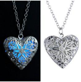 Heart Pendant Necklace Steampunk Glow Dark Locket Necklace Women