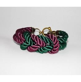 Green Purple Knot Rope Bracelet Brass Clasp