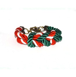 Green Red White Stripes Rope Bracelet Brass Clasp