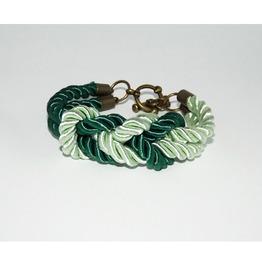 Green Mint Knot Rope Bracelet Brass Clasp