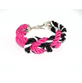 Deep Pink Black White Stripes Rope Bracelet Silver Clasp
