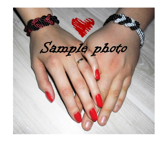 deep_pink_black_white_stripes_rope_bracelet_silver_clasp_bracelets_5.jpg