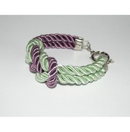 Lavender Mint Knot Rope Bracelet Silver Clasp