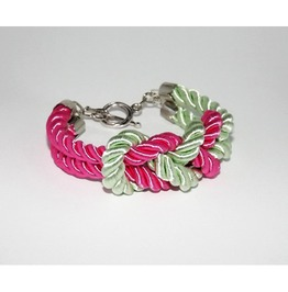Deep Pink Mint Knot Rope Bracelet Silver Clasp