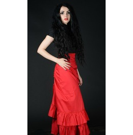 Red Cotton Long Victorian Pirate Bustle 2 Layer Skirt $9 To Ship Anywhere