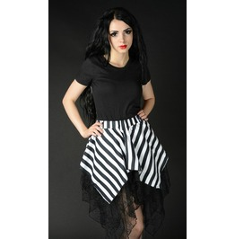 Black White Striped Pirate Widow Pointed Short Skirt $9 Worldwide Shipping