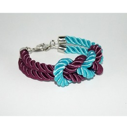 Turquoise Purple Knot Rope Bracelet Silver Clasp