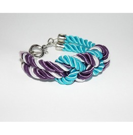Turquoise Purple White Stripes Knot Rope Bracelet Silver Clasp