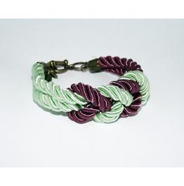 Purple Mint Knot Rope Bracelet Brass Clasp