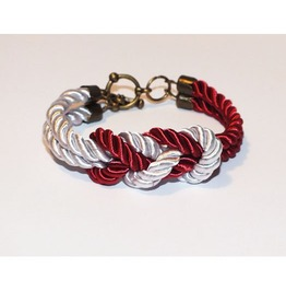 Red White Knot Rope Bracelet Brass Clasp