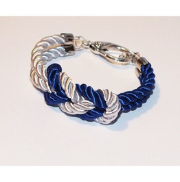 Blue White Knot Rope Bracelet Silver Clasp