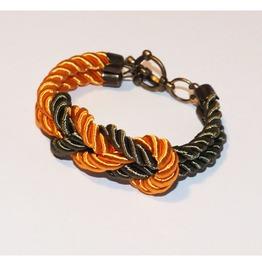 Khaki Yellow Knot Rope Bracelet Brass Clasp
