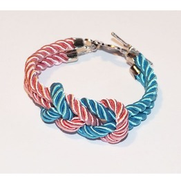 Turquoise Pink Knot Rope Bracelet Silver Flower Clasp