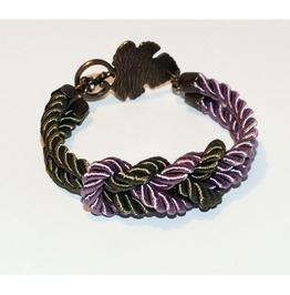 Lavender Khaki Knot Rope Bracelet Brass Leaf Clasp