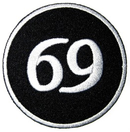 "Patch Iron Sew ""69"" 3.1 Inch / 3.1 Inch Sex Biker Rockabilly"