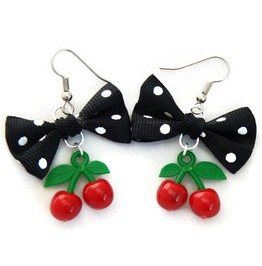 Black Polka Dot Bow Cherry Earrings