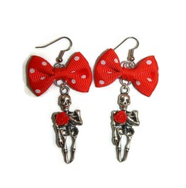Red Bow Skeleton Earrings