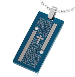 Blue Stainless Steel Laser Printed Lords Prayer Spanish Cross Tag Pendant