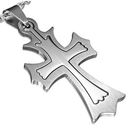 Stainless Steel 2 Part Cut Fleur De Lis Cross Pendant Chain