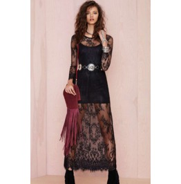 Sexy Floral Lace Lng Black Dress