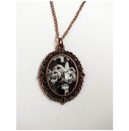 Handmade Necklace Skeletons Suits Pendant Cooper Color Metal Details