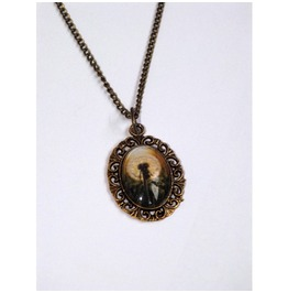 Handmade Necklace Dandelion Pendant Brass Color Metal Details