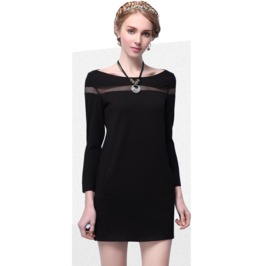 Wide Neck Line Short Black Dress
