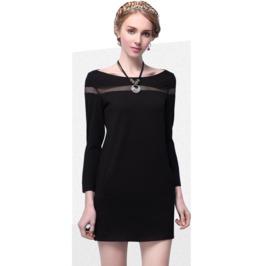 Wide Neck Line Short Black Dress
