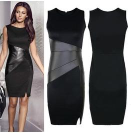 Regular/Plus Size Black Leather Splice Sleeveless Dress