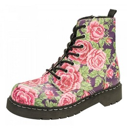 T.U.K. Digital Rose Print Anarchic Combat Boots