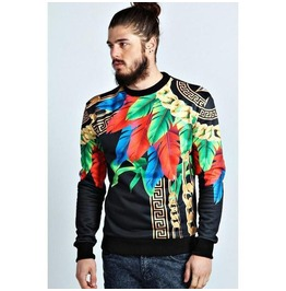 Mens Regular/Plus Flowers Chain Printed Sweatshirt