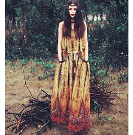 Retro Ethnic Printed Chiffon Women Chiffon Dress