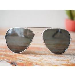 Vintage Aviator Sunglasses 1980's Old Stock Silver Black Lens