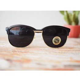 Vintage Clubmaster Sunglass 1980's Old Stock Black Gold