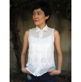 Vintage Repurposed Lace Top, Embossed Lace Sleeveless Shirt, White Lace Top