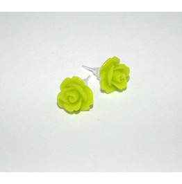 Tiny Romantic Lime Green Rose Studs