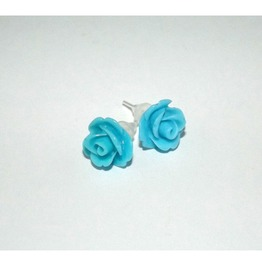 Tiny Romantic Turquoise Rose Studs