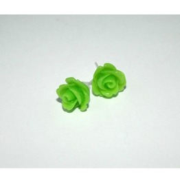 Tiny Romantic Green Rose Studs