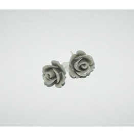 Tiny Romantic Grey Rose Studs