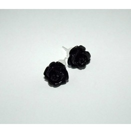 Tiny Romantic Black Rose Studs