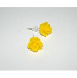 Tiny Romantic Yellow Rose Studs