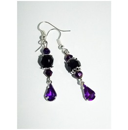 Fancy Black Purple Gothic Earrings