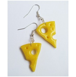 Cheese Slice Earrings Polimer Clay