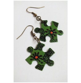 Handpainted Puzzle Piece Earrings, Green Floral Pattern,Upcycled.