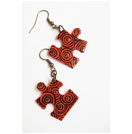 Handpainted Puzzle Piece Earrings, Orange Swirly Pattern, Upcycled