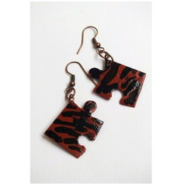 Handpainted Puzzle Piece Earrings, Sienna Black Stripes, Upcycled.