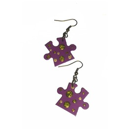 Handpainted Puzzle Piece Earrings, Plum Purple Dots, Upcycled.