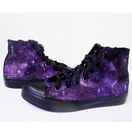 Custom Handpainted Purple Galaxy Sneakers, Galaxy Shoes