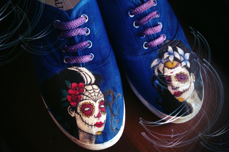 Handpainted Shoes, Santa Muerte, Sugar Skull 86294
